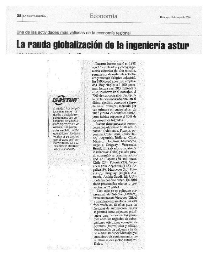 ISASTUR, entre las cuatro grandes ingenierías asturianas con proyección mundial