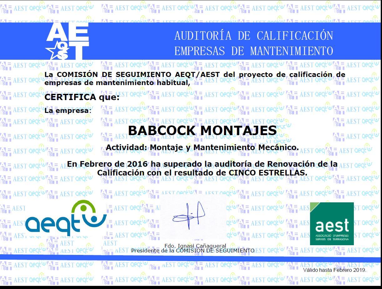 Babcock Montajes, una empresa de cinco estrellas