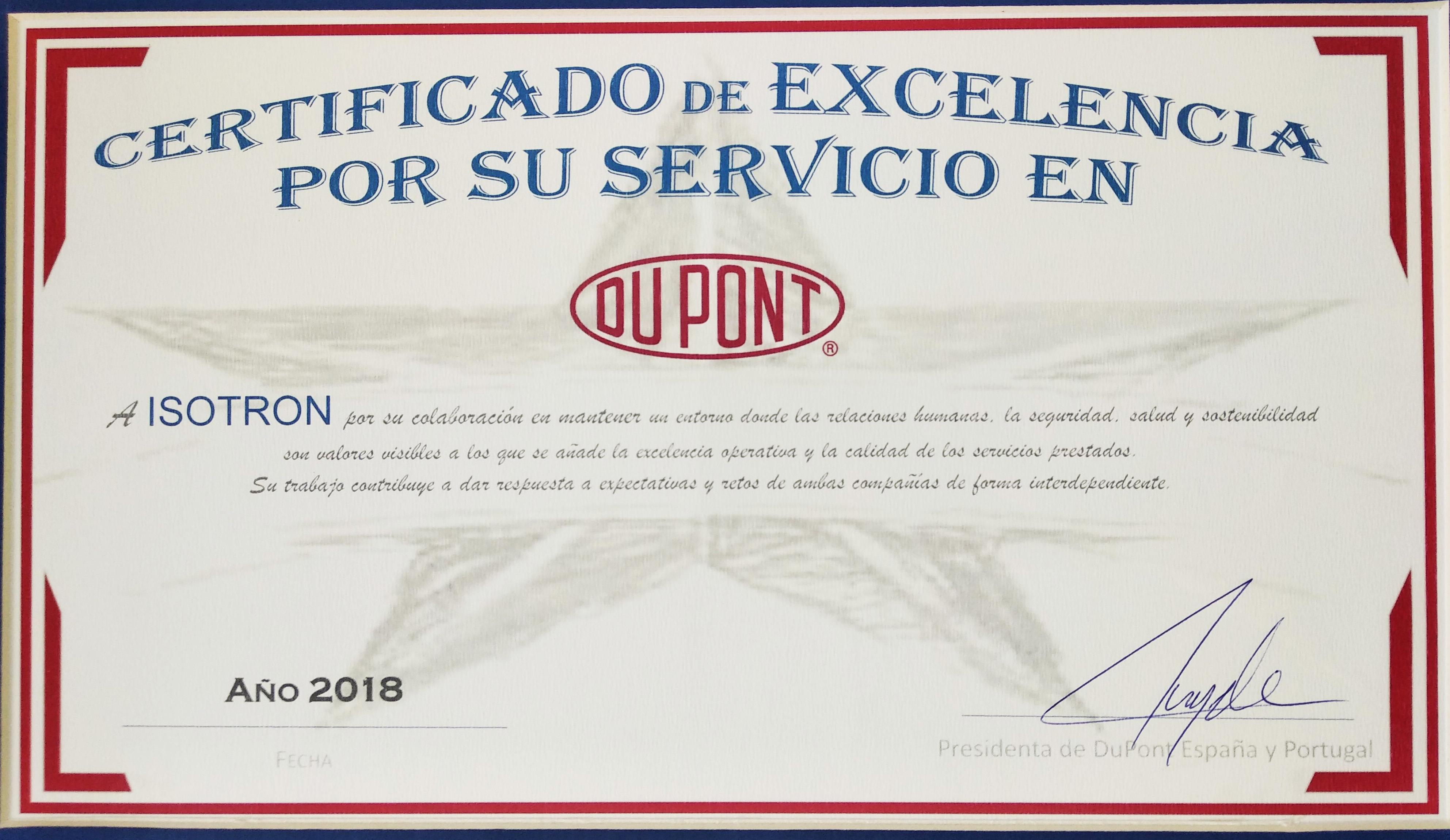 DuPont entrega a ISOTRON un Certificado de Excelencia en sus servicios